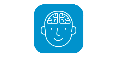 Child brain icon on blue background