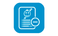 Child development chart icon with a minus symbol on a blue background