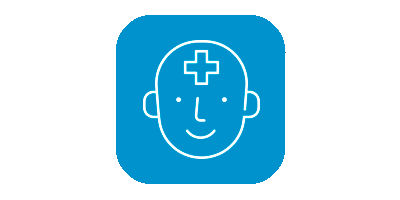 Child mental health icon on blue background