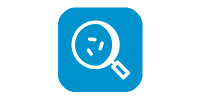 Microscopic disease icon on light blue background