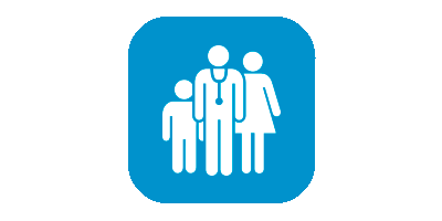 Icon of a Dr, mother and child on a blue background