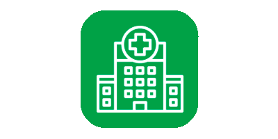 Icon of hospital on green background