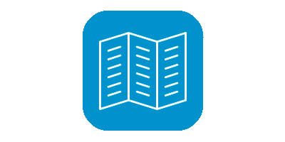 White leaflet icon with three columns on blue background