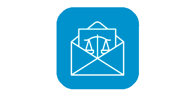 Legal documents icon on blue background