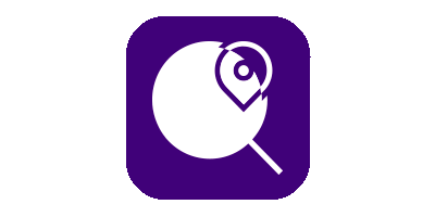 Magnifying glass with location symbol on dark purple background