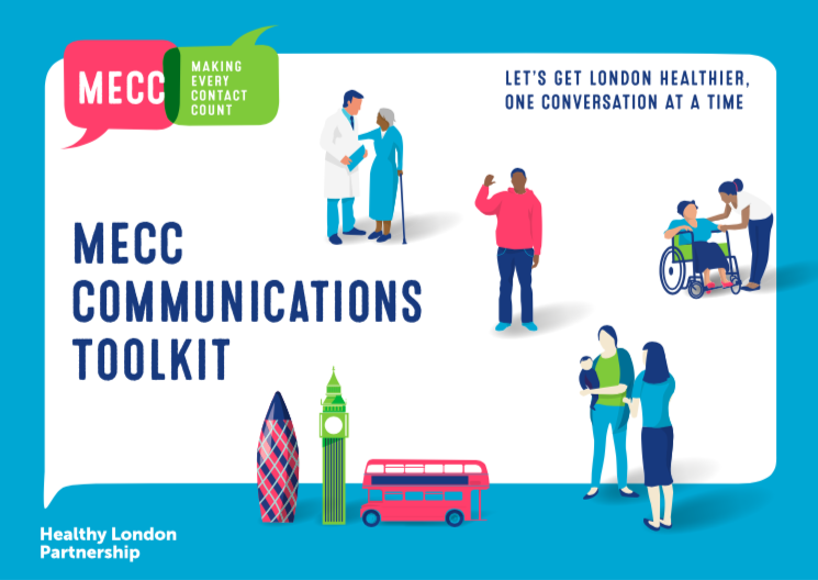 MECC communications toolkit 'Let's get London healthier one conversation at a time', featuring illustrations of London landmarks and people talking to each other