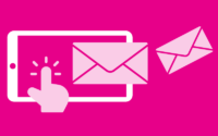 Graohic of finger clicking on a mobile with two envelopes on a pink background