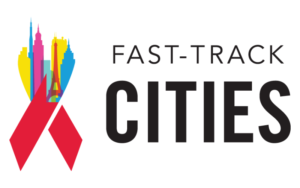 Fast track cities logo with colourfulHIV/AIDs awareness ribbon